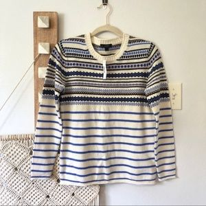 New J. Crew Lightweight Fair Isle Striped Sweater